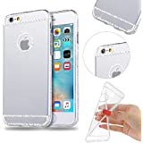MOMDAD Coque pour iPhone 5 5S Etui, Case pour iPhone SE Coque, Cover pour iPhone 5 5S Housse, TPU Silicone Coque Iphone SE / iPhone 5 5S Bling Clair Crystal Silicone etui iPhone 5 5S SE Cas Ultra mince et Utra léger Bumper Strass Transparent Souple Case - Blanc