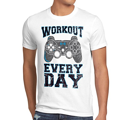 style3 Gamer Workout Herren T-Shirt play sport station controller ps game, Größe:L;Farbe:Weiß