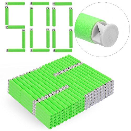 Foxom 500 Stück Pfeile Darts Nachfüllpack Zubehör für Nerf N-strike Elite AccuStrike Raptorstrike Blaster (Grün) (Grüner Pfeil 100)