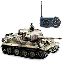 AZALLY German Tiger I Panzer RC Tank with Remote Control, Battery, Light, Sound, Rotating Turret and Recoil Action When Cannon Artillery Shoots, Mini 1:72 Scale, Assorted Color - Compare prices on radiocontrollers.eu