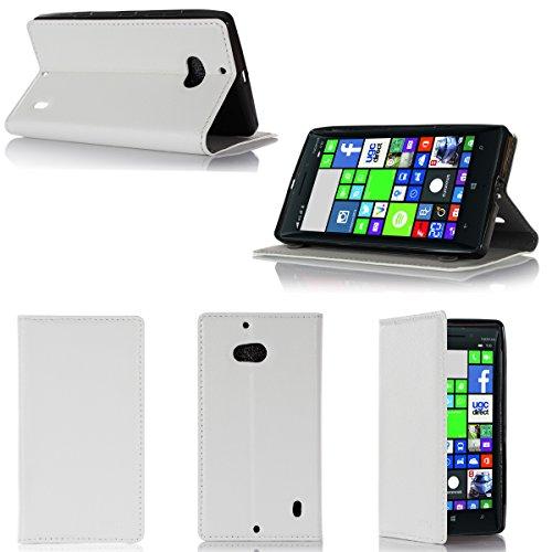 Nokia Lumia 930 4G Tasche Leder Style weiß Hülle Cover mit Stand - Zubehör Etui smartphone 2014 Nokia 930 Windows Phone 8.1 Flip Case Schutzhülle (Handy tasche folio PU Leder, weiss white) - Brand XEPTIO accessoires