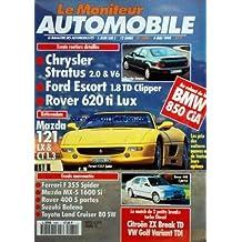 MONITEUR AUTOMOBILE (LE) [No 1080] du 04/05/1995 - ESSAIS - CHRYSLER STRATUS - FORD ESCORT CLIPPER - ROVER 620 - MAZDA 121 - BMW 850 CIA - CITROEN ZX BREAK TD VW GOLF VARIANT TDI - NOUVEAUTES