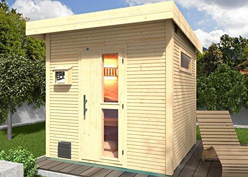 Weka 533.2525.60000 Premium-Saunahaus Kuopio mit Flachdach, wekaLine-Designprofil, Natur Unbehandelt, 298 x 262 x 253 cm