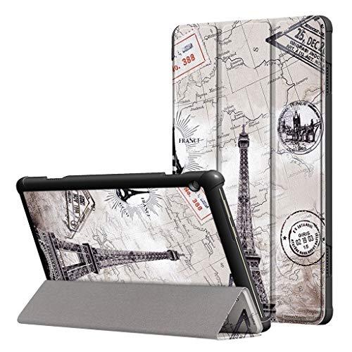 Mumuj PU-Leder Folio-Hülle, Dreifach Gefalteter Standplatz Ledertasche Ultra Schlank Stehen Flip Tablet Case Abdeckung Halter für Lenovo Tab M10 10.1
