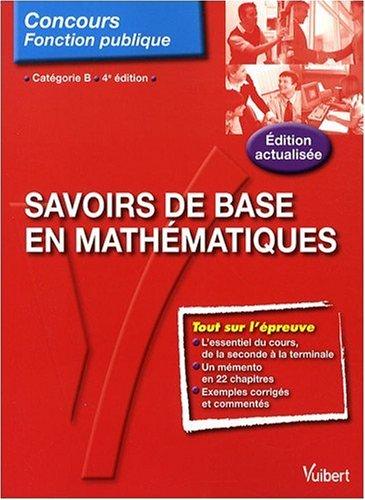 Savoirs de base en mathématiques : Catégorie B