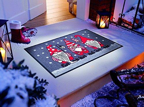 Bavaria Home Style Collection Fußmatten Weihnachten Zwerge 50x75 cm wash Dry Grau Rot