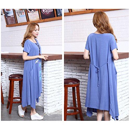 Homedecoam Damen Sommer Casual Loose Asymmetrisch Kleid Knielang aus Baumwolle und Leinen Blau