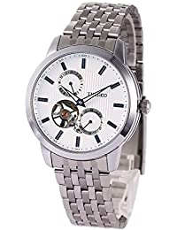 Time100 Fashion Men's Army-series Skeleton Automatic Mechanical Stainless Steel Strap Watch With Luminous Hands