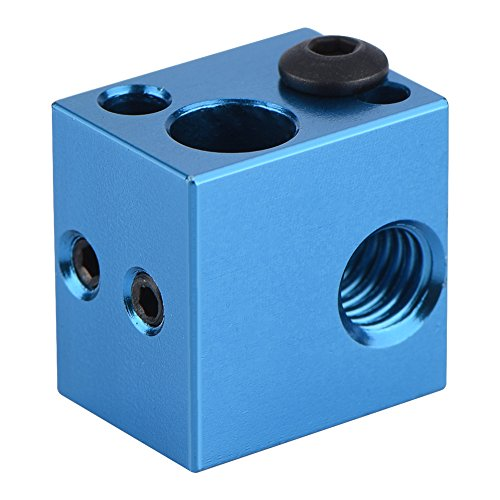 Richer-R 3D Drucker Aluminium Heizblock, Hochwertig Aluminium Heizblock Heizung Hot End,Heater Block Extruder Hotend Heizblock für 3D Drucker Makerbot Blau/Rot(Blue)