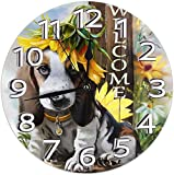 Horloge Murale Suower sur l'horloge Murale décorative pour Chien Chien de Basset Hound silencieuse - 9.8 Pouces Ronde Facile à Lire décorative pour la Maison/Bureau/école Horloge
