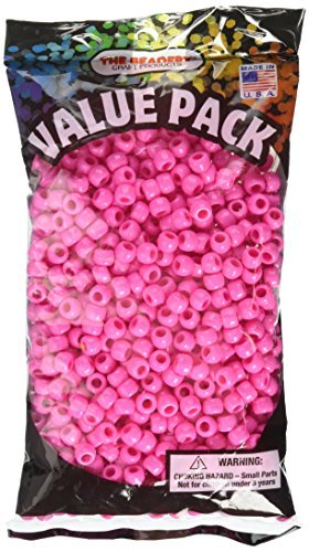 The Beadery 6 by 9mm Barrel Pony Bead, Hot Pink, 900-Pieces by The Beadery -