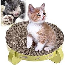 Rascador de gatos de cartón reversible, juguetes de recambio para gatos con vainilla para rascar, acurrucarse y descansar