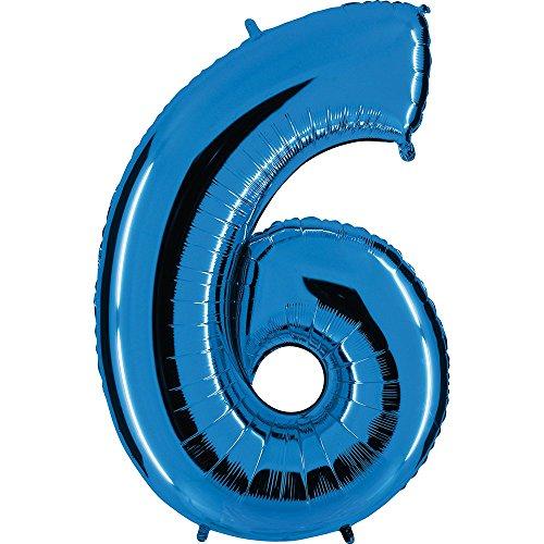 balón número en azul - XXL Número Gigante 100cm - para cumpleaños aniversario & CO - NUEVE - Fiesta Regalo Decoración Globo de plástico globo Happy Birthday - Número 6, 100cm