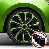 Autoteppich Stylers Aktion Bundle 14 Zoll Radkappen/Radzierblenden Nr.006 (Farbe Schwarz-Grün), passend für Fast alle Fahrzeugtypen (universal)