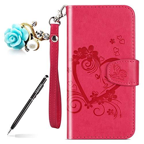 Uposao Kompatibel mit Handytasche Huawei P9 Lite Mini Lederhülle Leder Tasche Schmetterling Blumen Handy Hüllen Bookstyle Klappbar Klapphülle Flip Case Cover mit Standfunktion Karteneinschub,Hot Pink Hot Pink Leder