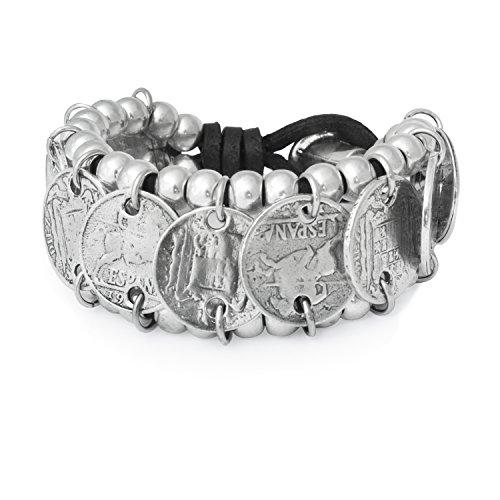 Beau Soleil Jewelry Lederarmband Münzen Breites Münzarmband mit spanischen Münzen Lederschmuck Ibiza Style (Schwarz 21cm)