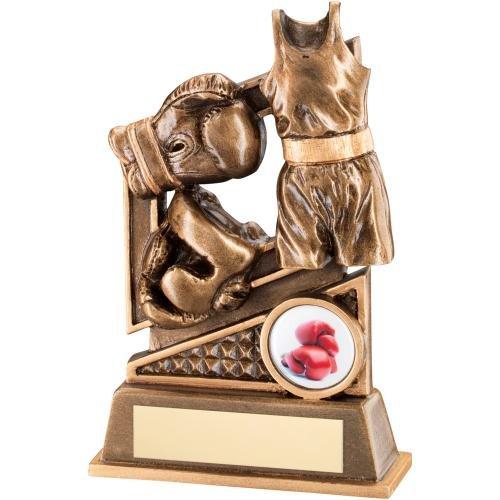 Boxen Trophy-mit Handschuh und Ring Design in bronze und gold Harz, , 6.25