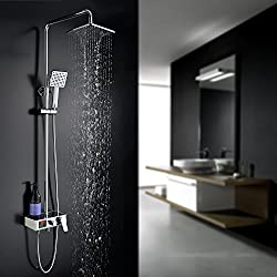 Homelody 3 function shower mixer with LCD water temperature display shower set with Rainshower rain shower hand shower and shower rod for shower