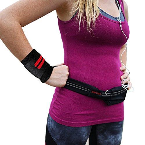-Vita pack + Polso scialli, Cintura alla vita le cintura barbone borse fitness cintura tasca borsa + potere di sollevamento pesi in palestra con formazione pugno segreto appoggia polso