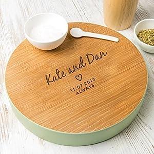 Hochzeit Geschenk personalisiertes Servierbrett mit Gravur - Valentinstag Geschenk für Paare - verschiedene Farben zur Auswahl - Vintage Deko Küche