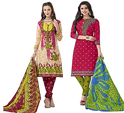 Hrinkar Beige And Red Cotton Prints With Solid Contrasts Salwar Suit Dupatta Or Churidar Suit For Women Latest Design And Style ( Material Unstitched ) Combo Pack Of 2 Dress - HKRCMB2425