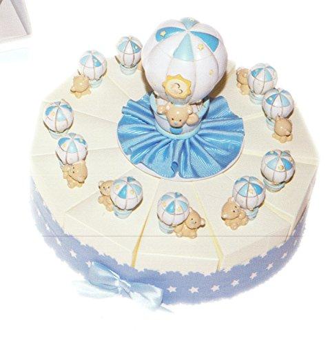 Baby torta bomboniere celeste 11 fette di torta con mongolfiera e orsetto in resina completo di confetti bianchi crispo al cioccolato