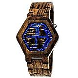 Handgefertigte Holzwerk Germany® Designer Matrix Unisex Herren-Uhr Damen-Uhr Öko Natur Holz-Uhr Armband-Uhr Digital LED Braun (Braun - Brown)