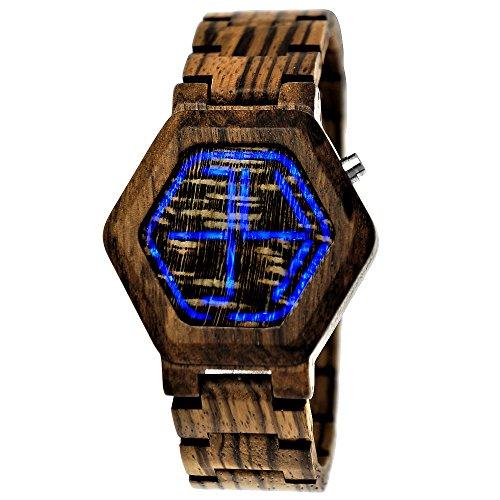 Handgefertigte Holzwerk Germany Designer Matrix Unisex Herren-Uhr Damen-Uhr Öko Natur Holz-Uhr Armband-Uhr Digital LED Braun (Braun - Brown)