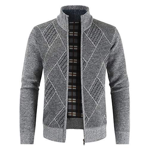 YUHUISTART Dünne Strickjacken einfarbige Slim-Fit Windjacke Windbreaker Strickpullover Lässige Mode Cardigan Sweater Jacket -