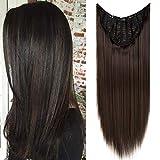 TESS Clip in Extensions wie Echthaar Haateile Dunkelbraun 1 Tresse 5 Clips U-förmig Haarverlängrung Synthetische Haare Glatt 26