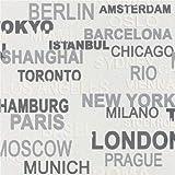 New Luxury - Rotolo di carta da parati Rasch per la camera dei bambini, goffrato, motivo: nomi delle città del mondo SILVER 766707