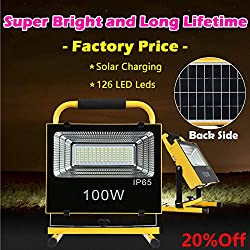 Portable Handheld LED Work Light Solar Power Spotlight 100W Super Bright IP65 Waterproof 4000mAh Built-in Battery Rechargeable for Outdoor Camping Emergency Situation Job Site Lightning