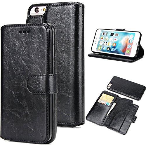 BCIT iPhone 6 Plus Leder Handytasche - Geldbörse mit Kartenfach abnehmbar Magnet Handy Schutzhülle für iPhone 6 Plus - Braun Schwarz