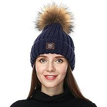 2a8abd50d4bde Amazon.es  gorros de lana con pompon de pelo - Azul