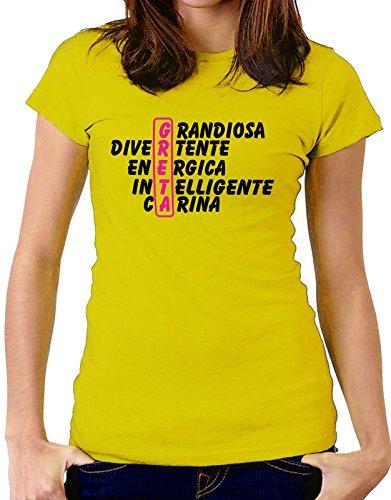 Tshirt Tshirt con nome Greta e aggettivi simpatici - idea regalo - Tutte le taglie Giallo