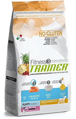 Fitness 3 trainer no gluten puppy medium maxi con salmone riso e olio 12,5 kg