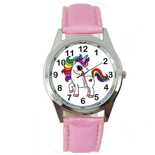 TAPORT® - Reloj de cuarzo con unicornio y correa de piel rosa, E2 + pila de repuesto gratuita + bolsa para regalo gratuita