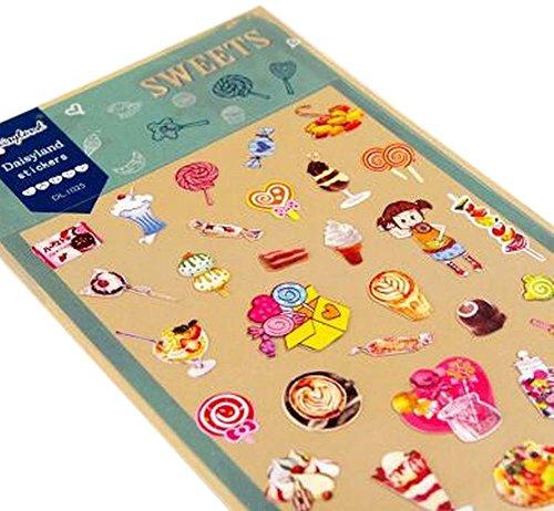 [Bonbons] 5 Feuilles Autocollants Décoratifs Autocollants Craft Pour Scrapbook