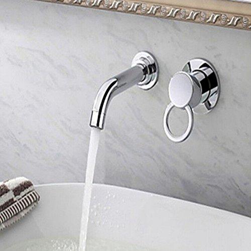 Tourmeler Wandmontage Messing verchromt Badezimmer Waschbecken Wasserhahn einzelne Griff mit zwei Bohrungen Eitelkeit Mischbatterie, Chrom - 2 Waschbecken Badezimmer-eitelkeit