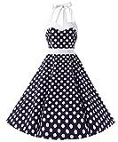 Dresstells Neckholder Rockabilly 1950er Polka Dots Punkte Vintage Retro Cocktailkleid Petticoat Faltenrock Blue White Dot L