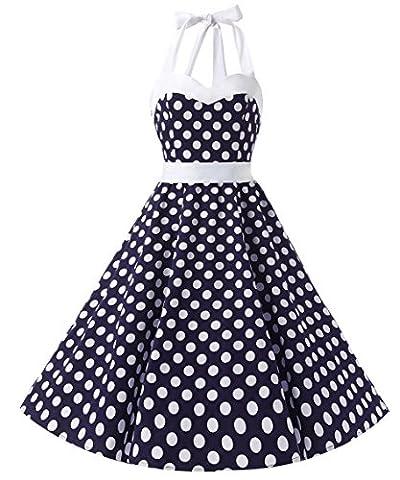 Dresstells Halter 1950s Rockabilly Polka Dots Dress Petticoat Pleated Skirt Blue White Dot M