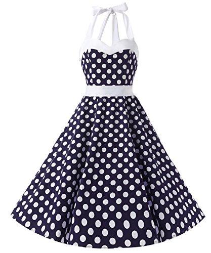 Dresstells Neckholder Rockabilly 1950er Polka Dots Punkte Vintage Retro Cocktailkleid Petticoat Faltenrock Blue White Dot M