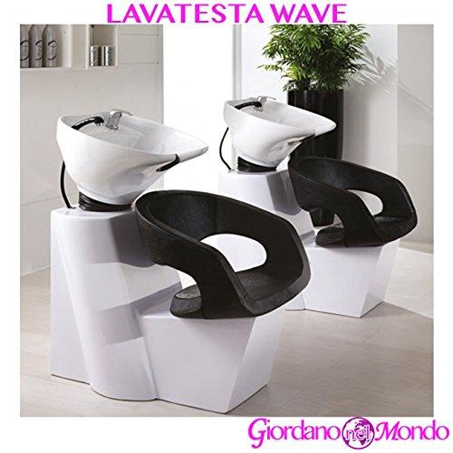Lavatesta parrucchiere e barbiere singolo con vasca basculante e doccetta con tubo flessibile professionale
