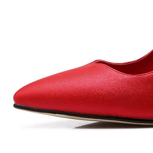 AllhqFashion Femme Tire Stylet Matière Mélangee Couleur Unie Pointu Fermeture D'Orteil Chaussures Légeres Rouge