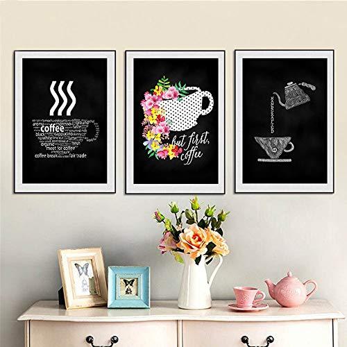 adgkitb canvas Moderne Schwarz Weiß Kaffeetasse Leinwand Malerei Poster Und Drucke Wandkunst Bilder Für Coffee Shop Küche Wohnkultur30x50 cmx3 KEIN Rahmen