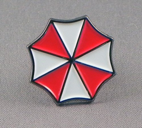 (20 mm) Metall Emaille Pin Badge Resident Evil Umbrella Corporation (Regenschirm Corp)