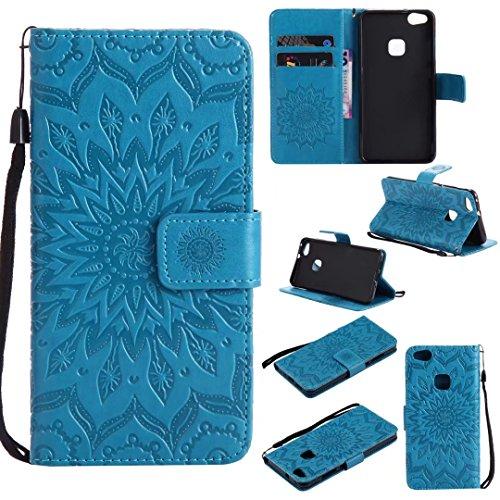 (COWX Huawei P10 lite Hülle PU Lederhülle für Huawei P10 Lite Tasche - Sonnenblume Blau)