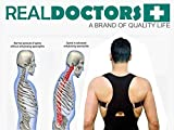 Real Doctors Neoprene Lower Back Brace & Posture Corrector Clavicle Support For Scoliosis Spondylolisthesis & Thoracic, Posture Support For Men & Women, Relieves Back Pain & Acts As A Shoulder Brace, Large/X-Large
