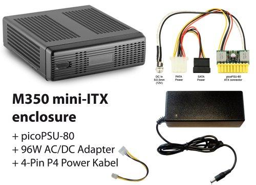 M350 mini-ITX Gehäuse + picoPSU-80 + 96W AC/DC Adapter + Stromadapterkabel 20-bis 24-pin Netzteil Adapter