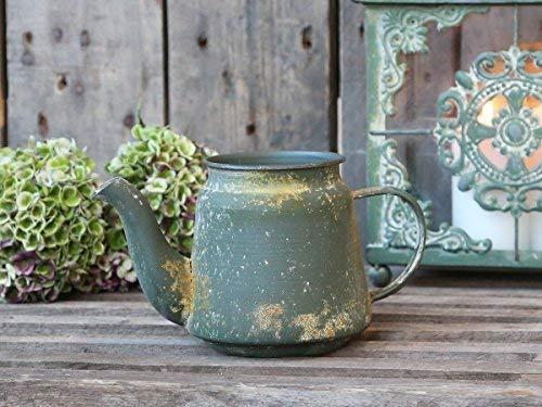 Chic Antique Francesa jarra jarra BOTE DE CINC regadera verde antiguo vintage